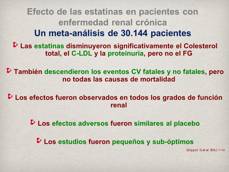 Efecto de las estatinas en pacientes con enfermedad renal crónica Un meta-análisis de 30.144 pacientes