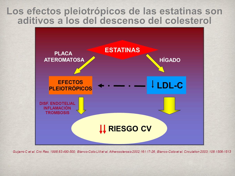 Los efectos pleiotrópicos de las estatinas son aditivos a los del descenso del colesterol