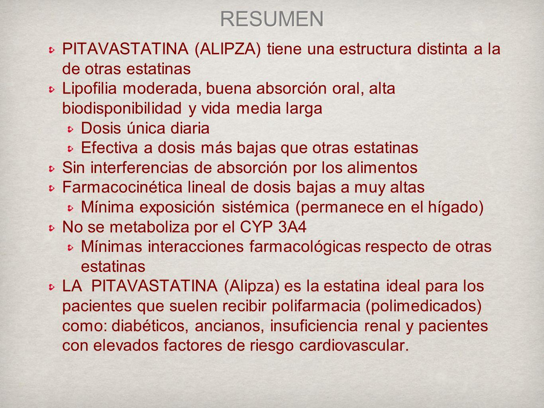 RESUMEN PITAVASTATINA (ALIPZA) tiene una estructura distinta a la de otras estatinas.