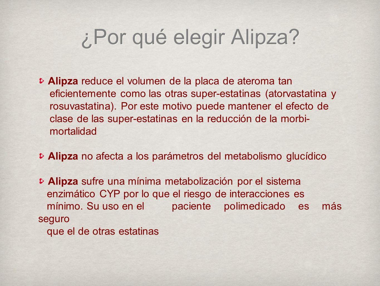 ¿Por qué elegir Alipza Alipza reduce el volumen de la placa de ateroma tan. eficientemente como las otras super-estatinas (atorvastatina y.