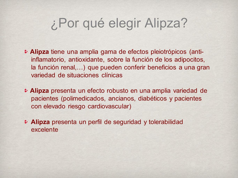 ¿Por qué elegir Alipza Alipza tiene una amplia gama de efectos pleiotrópicos (anti- inflamatorio, antioxidante, sobre la función de los adipocitos,