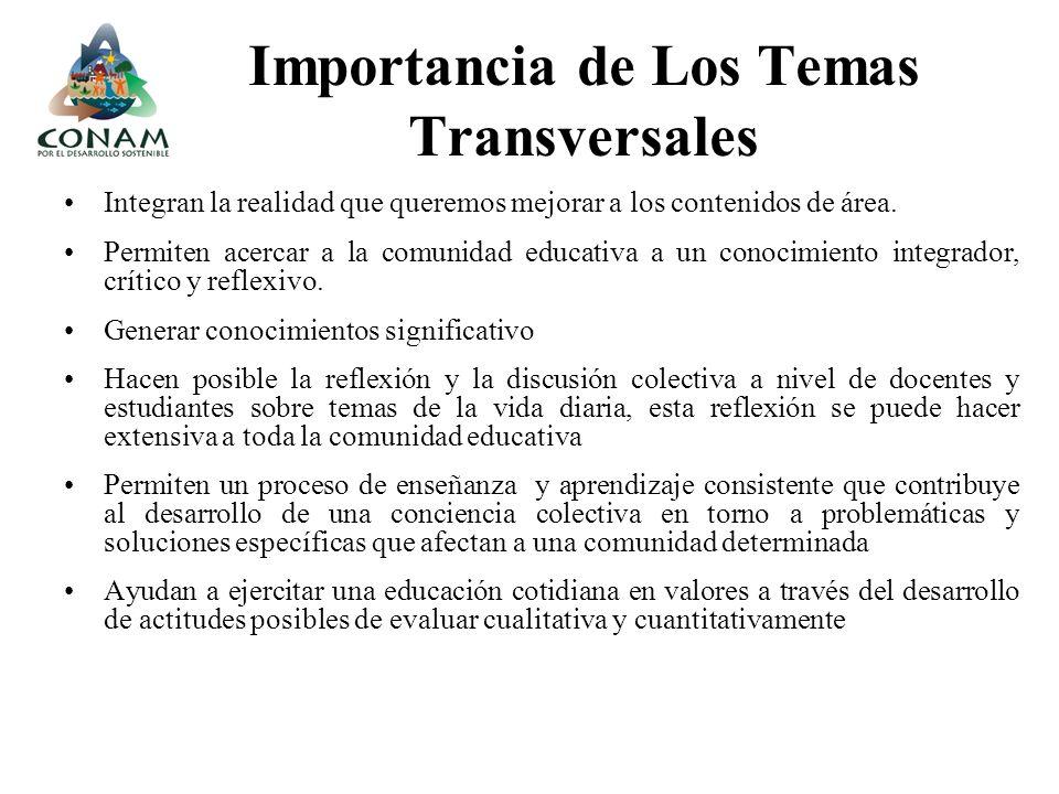 Importancia de Los Temas Transversales