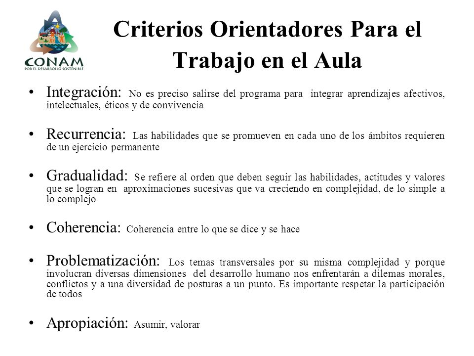 Criterios Orientadores Para el Trabajo en el Aula