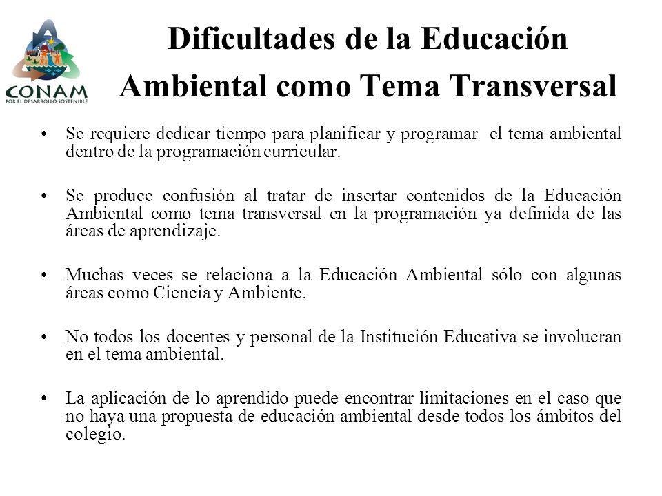 Dificultades de la Educación Ambiental como Tema Transversal
