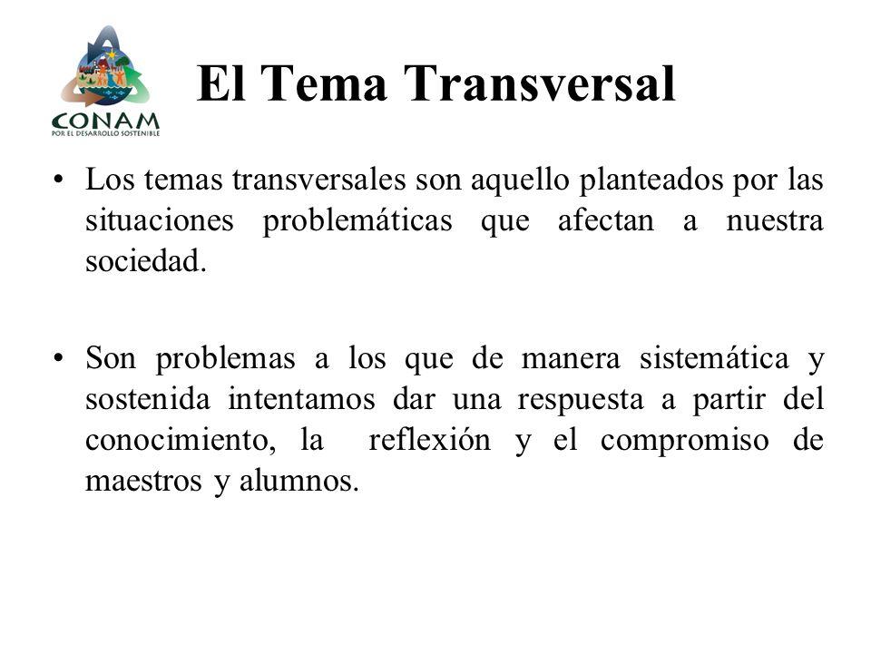 El Tema Transversal Los temas transversales son aquello planteados por las situaciones problemáticas que afectan a nuestra sociedad.
