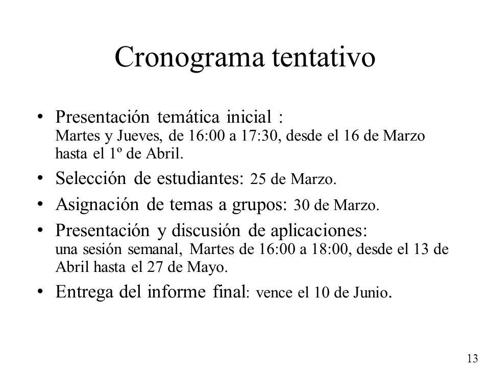 Cronograma tentativo Presentación temática inicial : Martes y Jueves, de 16:00 a 17:30, desde el 16 de Marzo hasta el 1º de Abril.