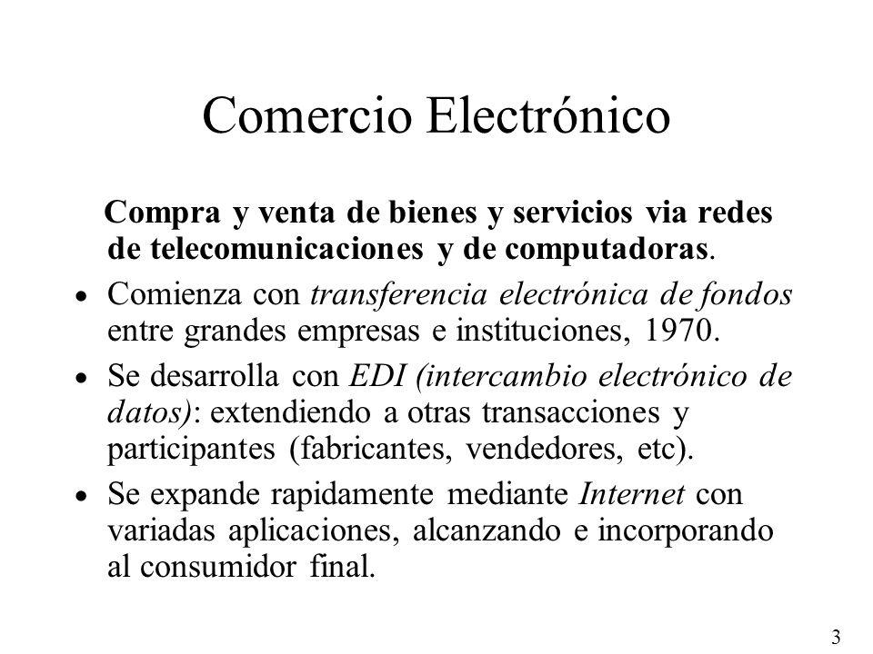 Comercio Electrónico Compra y venta de bienes y servicios via redes de telecomunicaciones y de computadoras.