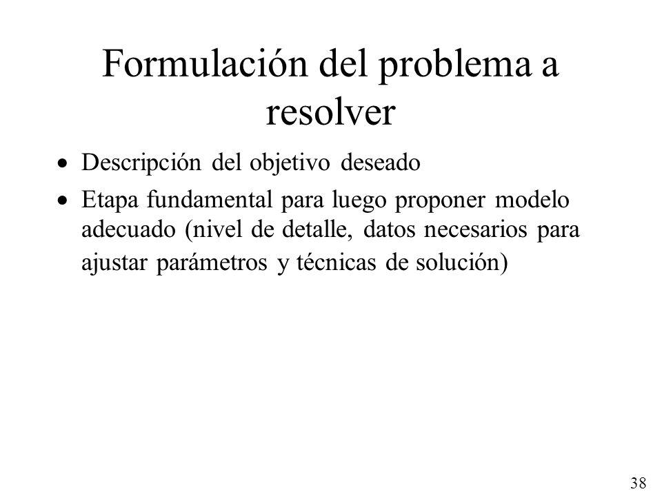 Formulación del problema a resolver