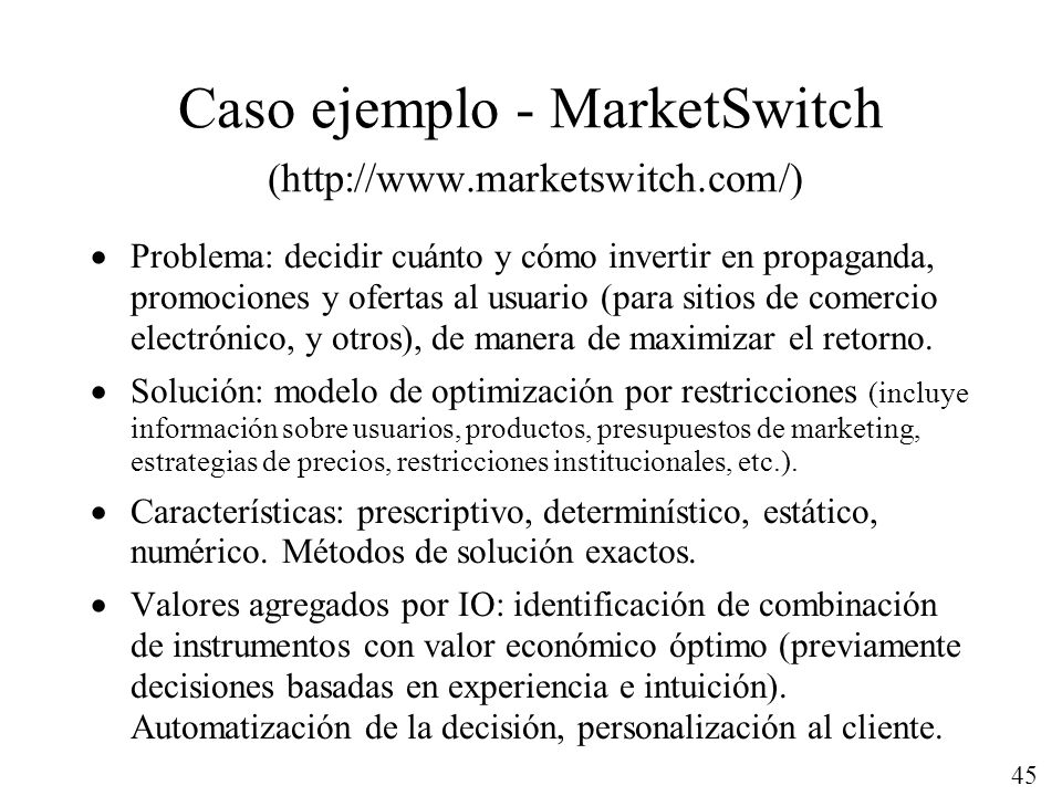Caso ejemplo - MarketSwitch (http://www.marketswitch.com/)