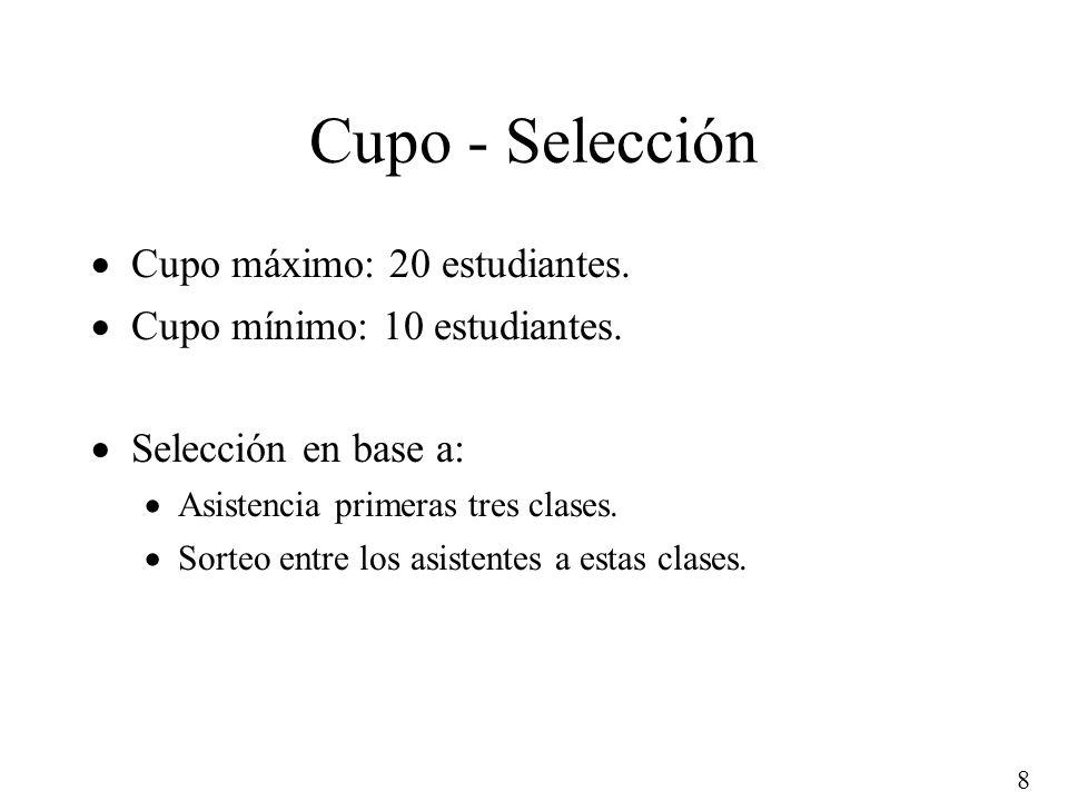 Cupo - Selección Cupo máximo: 20 estudiantes.
