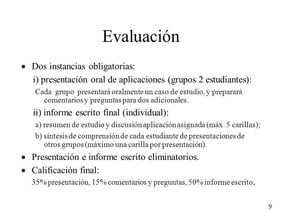 Evaluación Dos instancias obligatorias: