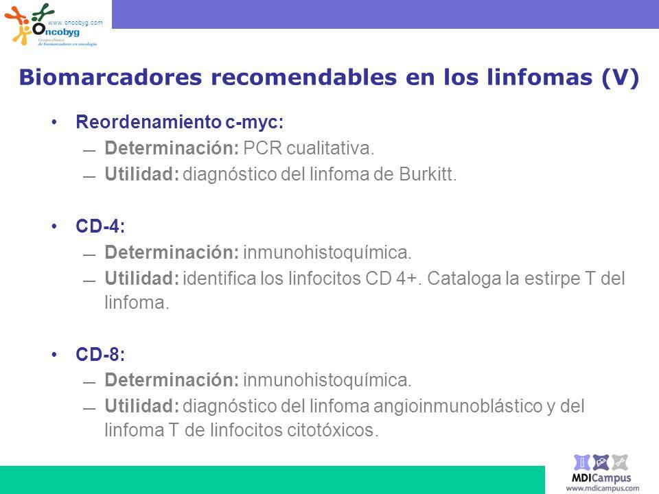 Biomarcadores recomendables en los linfomas (V)