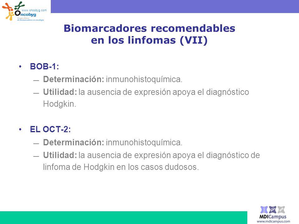 Biomarcadores recomendables en los linfomas (VII)