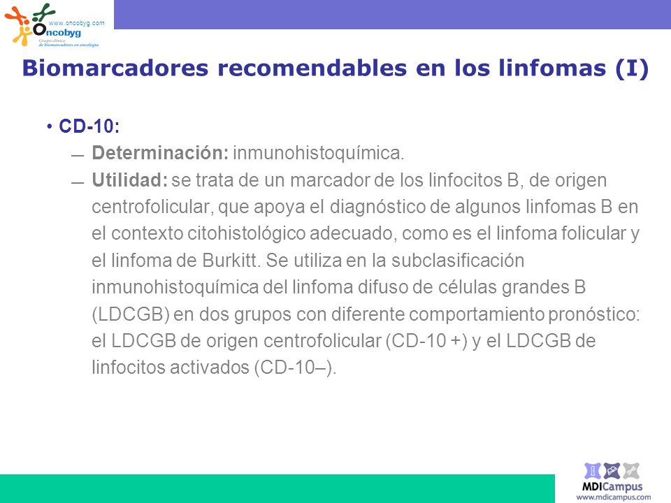 Biomarcadores recomendables en los linfomas (I)