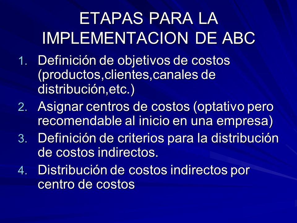 ETAPAS PARA LA IMPLEMENTACION DE ABC