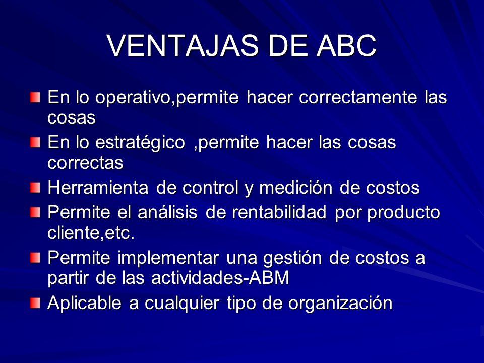 VENTAJAS DE ABC En lo operativo,permite hacer correctamente las cosas