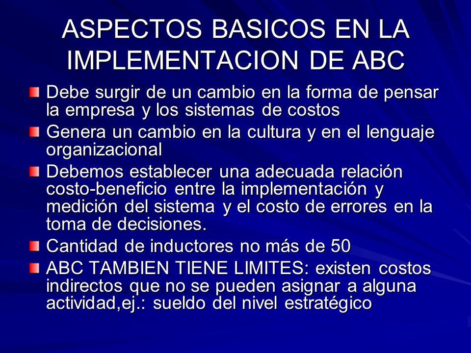 ASPECTOS BASICOS EN LA IMPLEMENTACION DE ABC