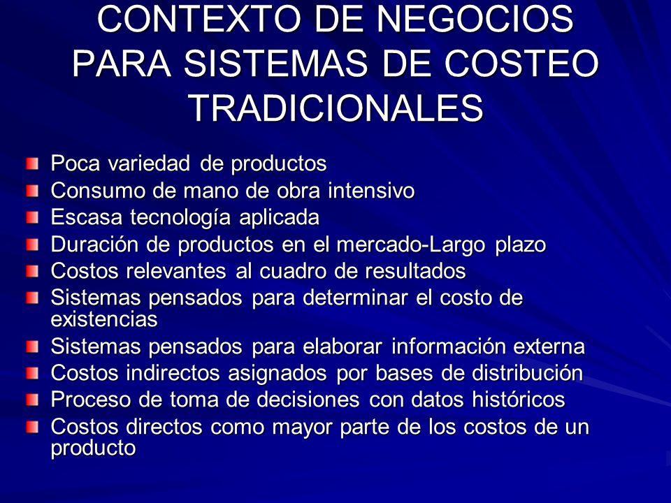 CONTEXTO DE NEGOCIOS PARA SISTEMAS DE COSTEO TRADICIONALES