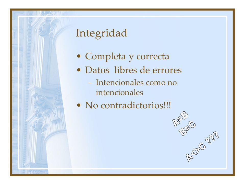 A=B B=C A<>C Integridad Completa y correcta