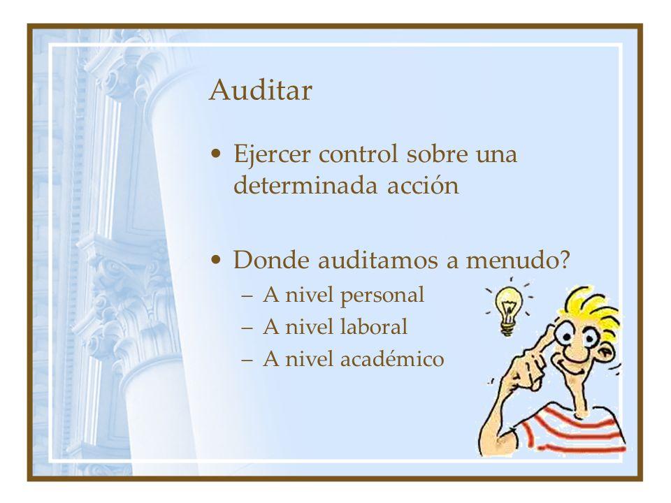 Auditar Ejercer control sobre una determinada acción