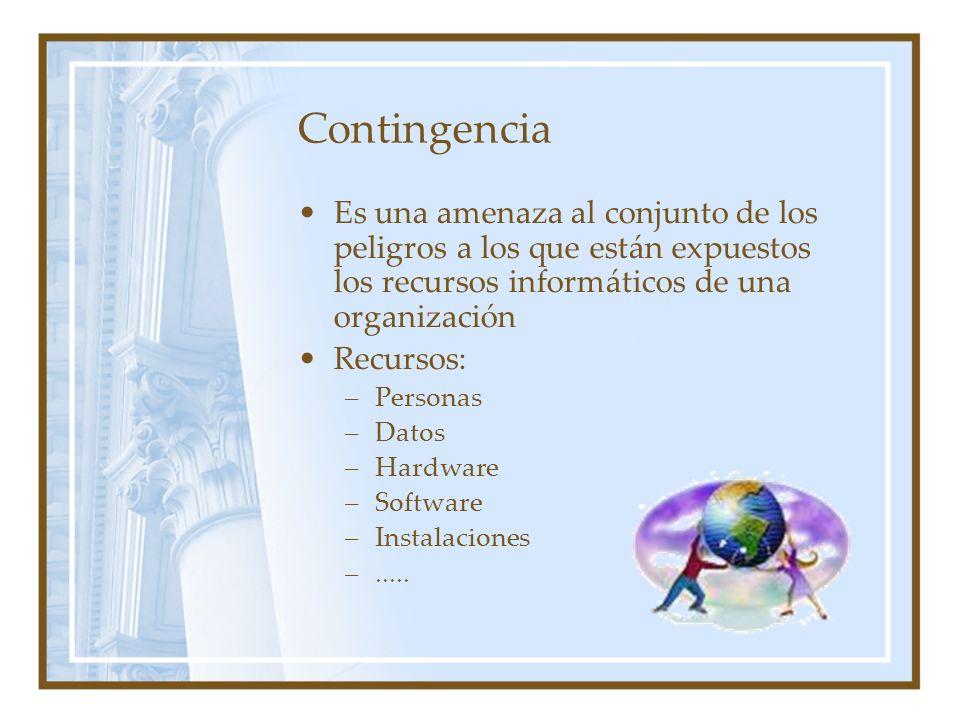 Contingencia Es una amenaza al conjunto de los peligros a los que están expuestos los recursos informáticos de una organización.