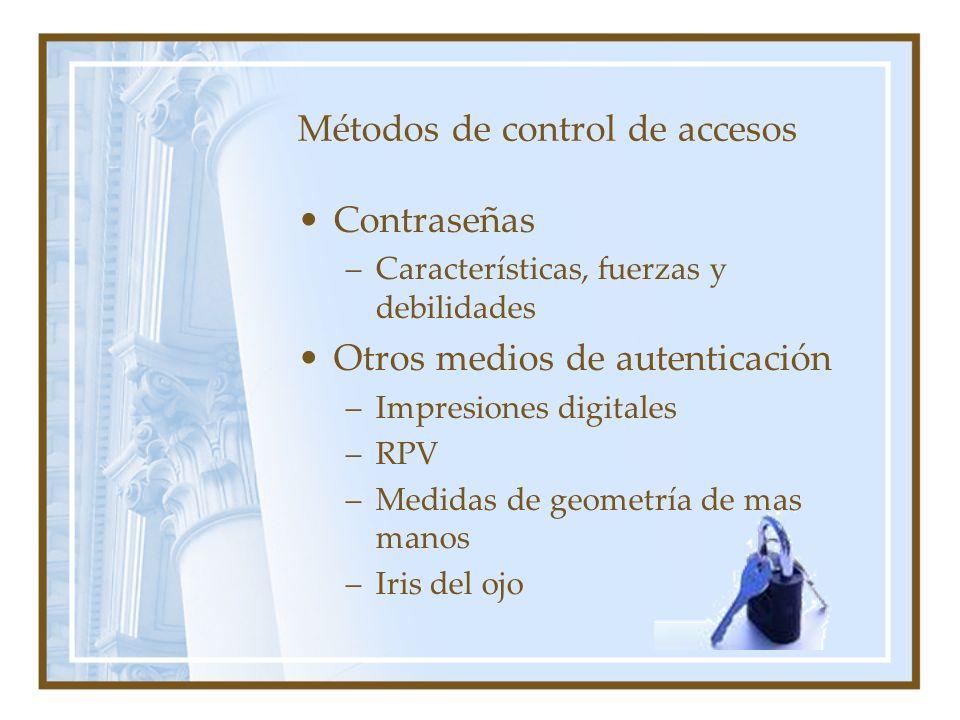 Métodos de control de accesos