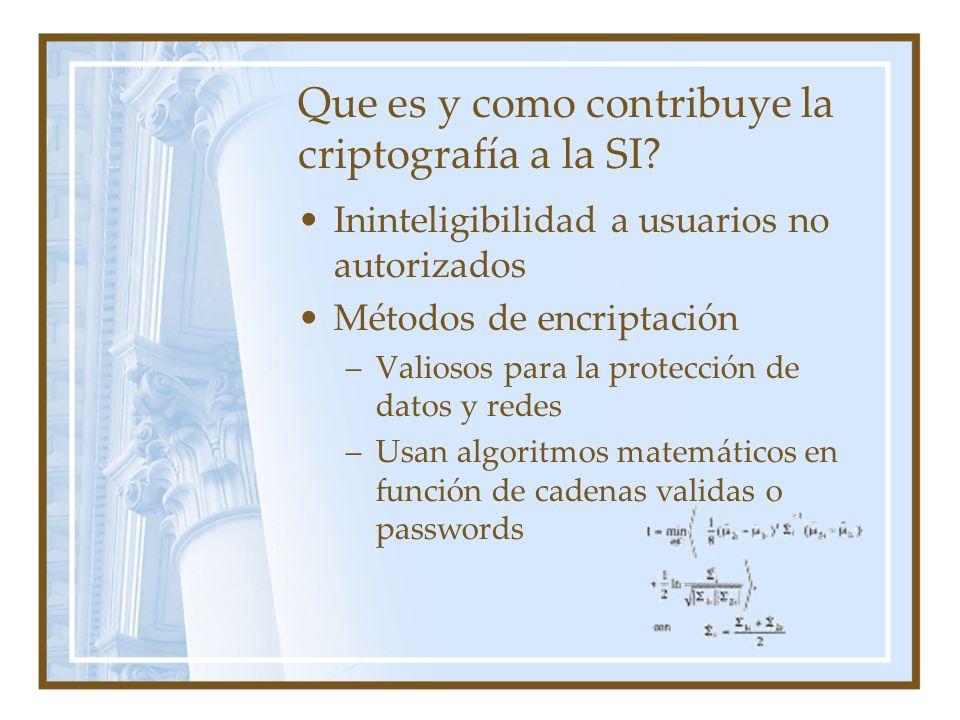 Que es y como contribuye la criptografía a la SI