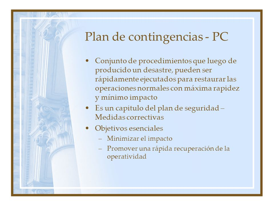 Plan de contingencias - PC