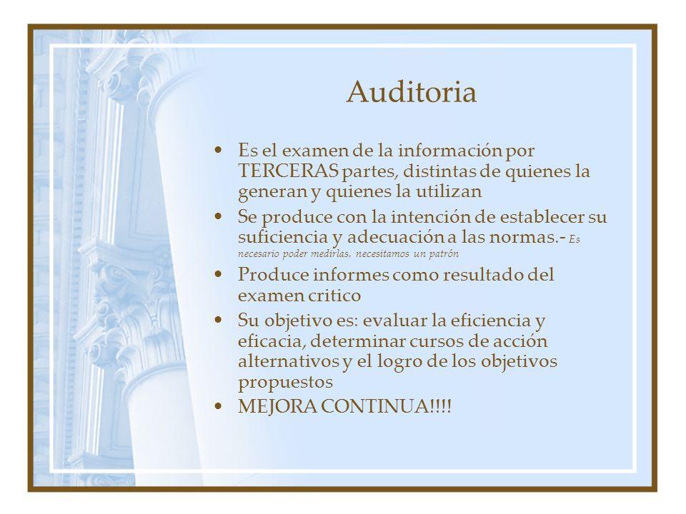 Auditoria Es el examen de la información por TERCERAS partes, distintas de quienes la generan y quienes la utilizan.