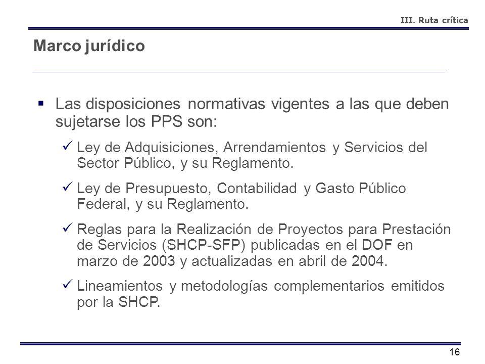 III. Ruta críticaMarco jurídico. Las disposiciones normativas vigentes a las que deben sujetarse los PPS son: