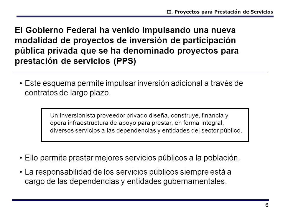 II. Proyectos para Prestación de Servicios