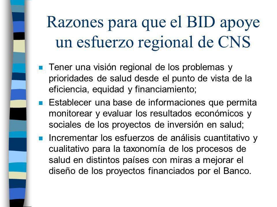 Razones para que el BID apoye un esfuerzo regional de CNS