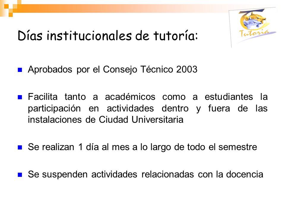 Días institucionales de tutoría: