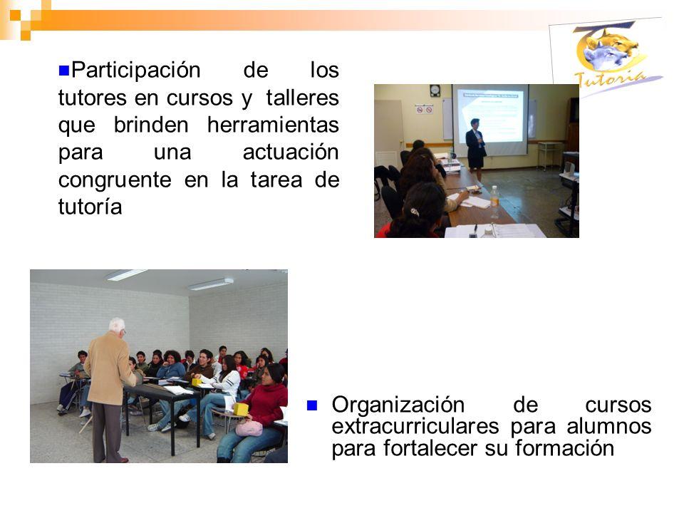 Participación de los tutores en cursos y talleres que brinden herramientas para una actuación congruente en la tarea de tutoría