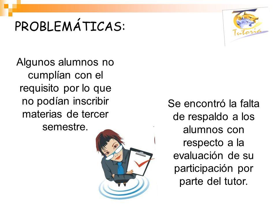 PROBLEMÁTICAS: Algunos alumnos no cumplían con el requisito por lo que no podían inscribir materias de tercer semestre.
