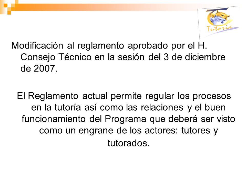 Modificación al reglamento aprobado por el H