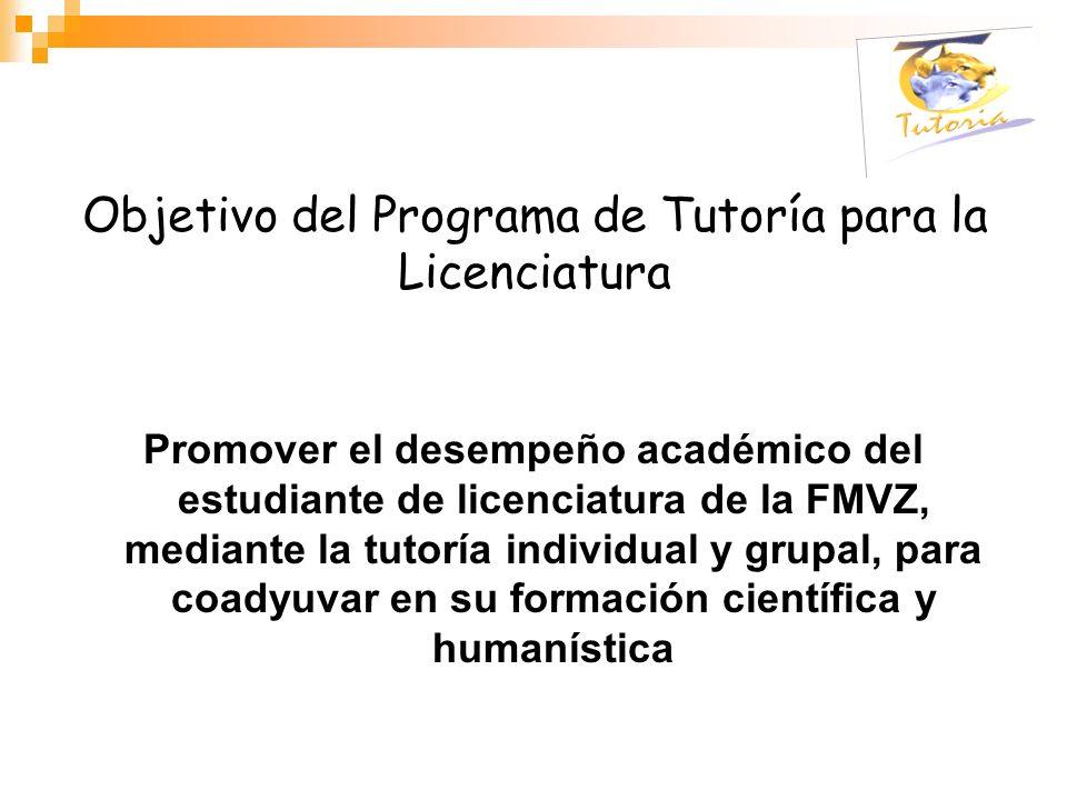 Objetivo del Programa de Tutoría para la Licenciatura