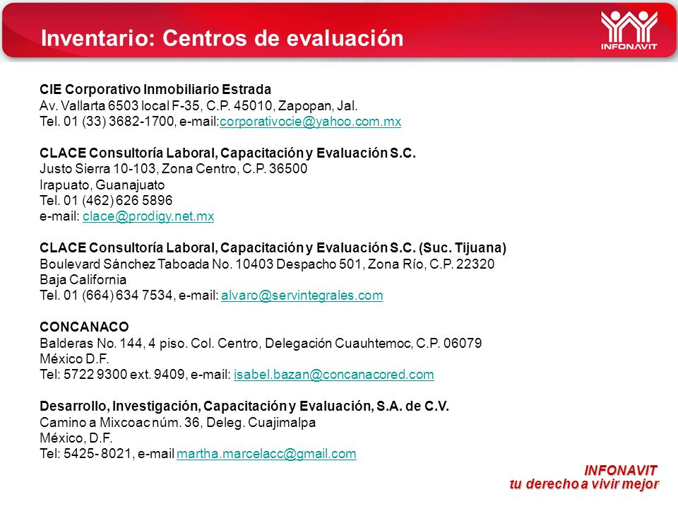 Inventario: Centros de evaluación