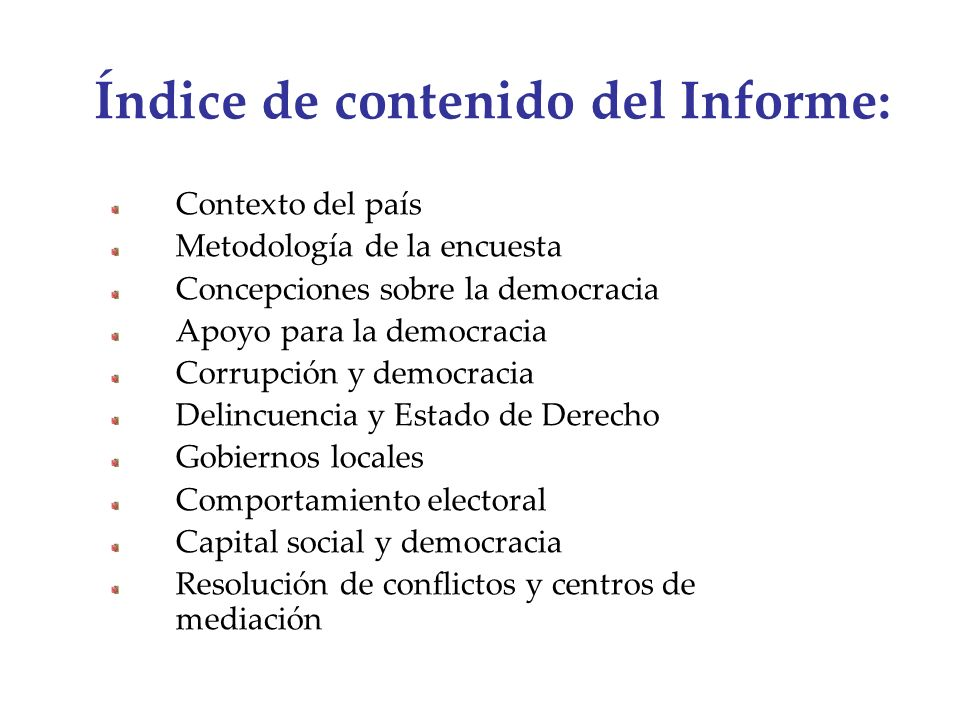 Índice de contenido del Informe: