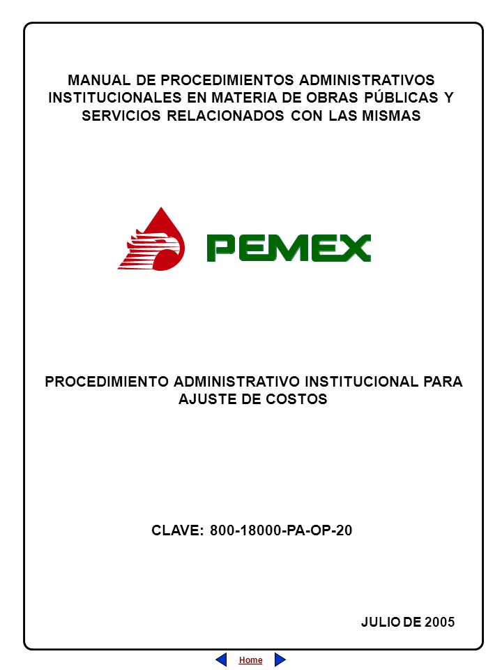 PROCEDIMIENTO ADMINISTRATIVO INSTITUCIONAL PARA AJUSTE DE COSTOS