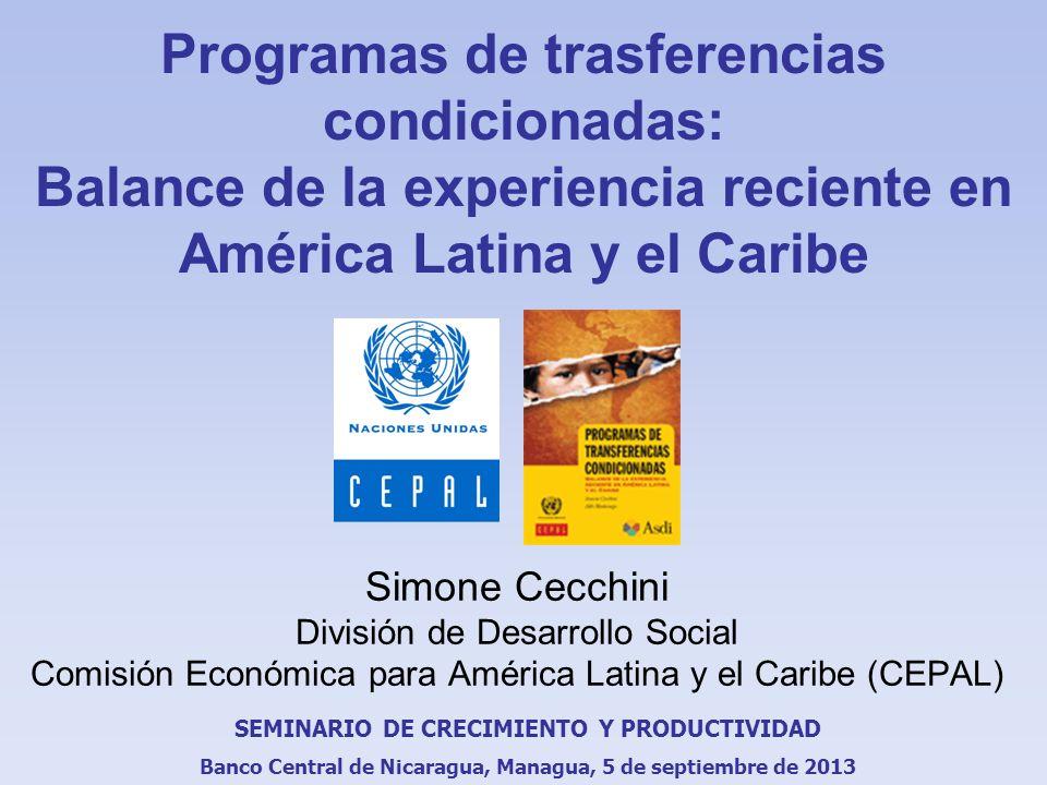 Programas de trasferencias condicionadas: Balance de la experiencia reciente en América Latina y el Caribe