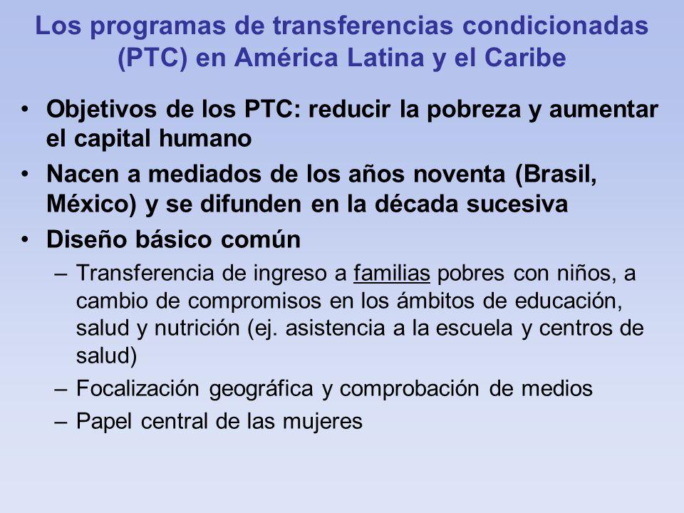 Los programas de transferencias condicionadas (PTC) en América Latina y el Caribe