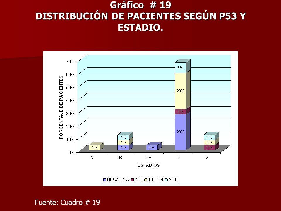 Gráfico # 19 DISTRIBUCIÓN DE PACIENTES SEGÚN P53 Y ESTADIO.