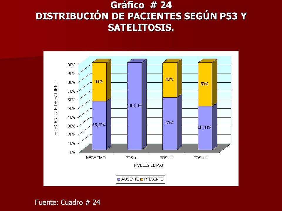 Gráfico # 24 DISTRIBUCIÓN DE PACIENTES SEGÚN P53 Y SATELITOSIS.