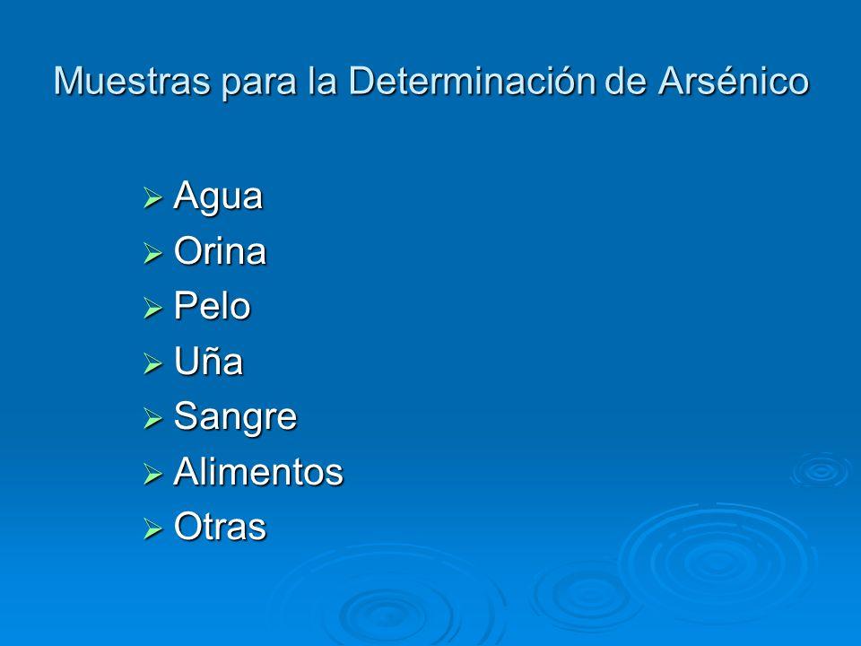 Muestras para la Determinación de Arsénico