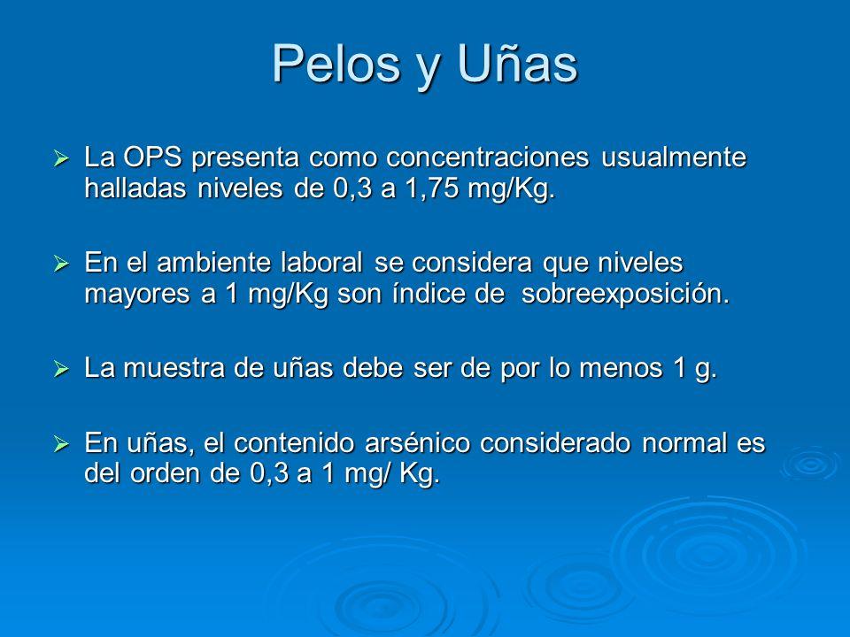 Pelos y Uñas La OPS presenta como concentraciones usualmente halladas niveles de 0,3 a 1,75 mg/Kg.
