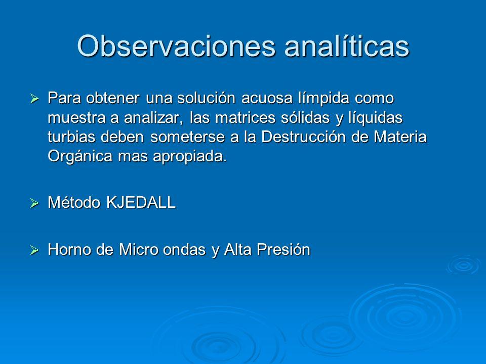 Observaciones analíticas
