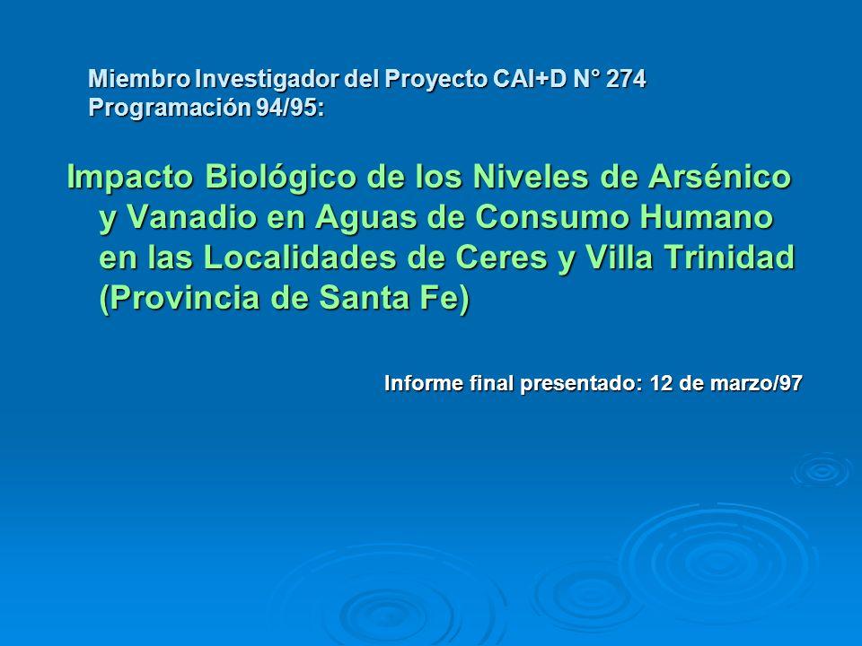 Miembro Investigador del Proyecto CAI+D N° 274 Programación 94/95: