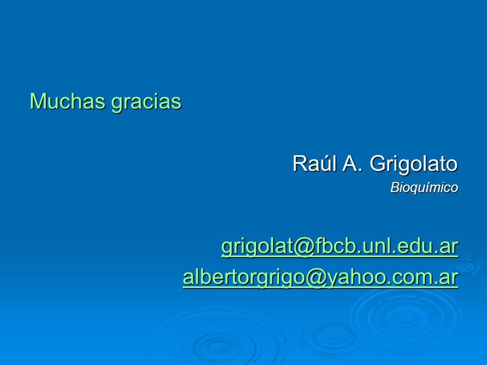 Muchas gracias Raúl A. Grigolato grigolat@fbcb.unl.edu.ar