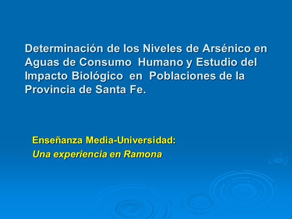 Determinación de los Niveles de Arsénico en Aguas de Consumo Humano y Estudio del Impacto Biológico en Poblaciones de la Provincia de Santa Fe.